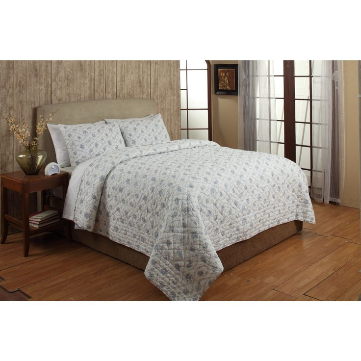 the floral bouquet quilt set can be added to any bedroom for maximum comfort and style constructed of cotton the quilt features a floral pattern in a blue