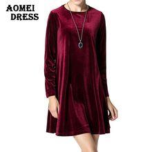 Uzun Kollu Kadın Kadife Elbiseler Zarif Sonbahar Kış Ince Moda Rahat Vestidos Artı boyutu Şarap Kırmızı Mavi Robe Önlük Giyim(China (Mainland))