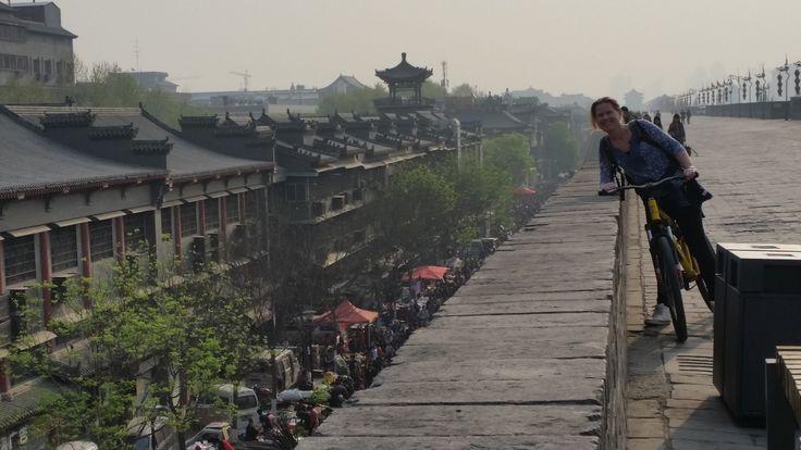 Tijdens onze 14 kilometer lange fietstocht op de stadsmuur van Xi'an zien we een levendige markt, een mooie tempel en parken waar de locals allerlei activiteiten aan het doen zijn zoals sporten, dansen en tafeltennissen. #Xian