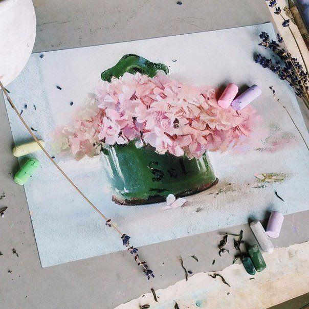 Pastel of artist Elena Tatkina