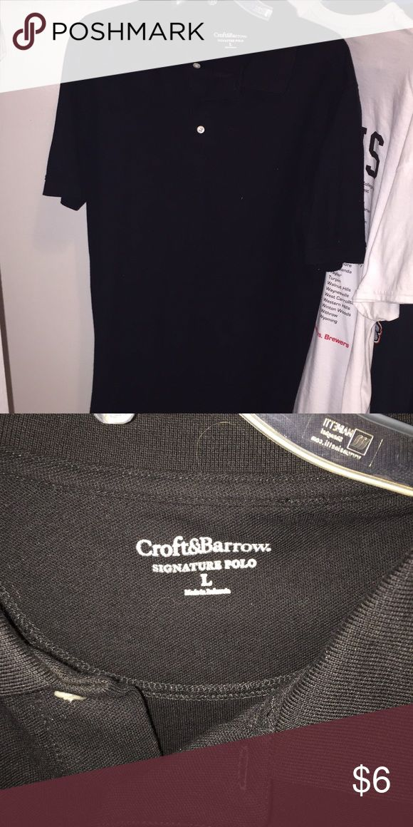 Men's Black Polo Shirt 👔ONLY WORN ONCE!! Like new!! Men's Croft&Barrow black polo shirt. Originally $19.99. Size Large.👔 Always open to offers!! croft & barrow Shirts Polos
