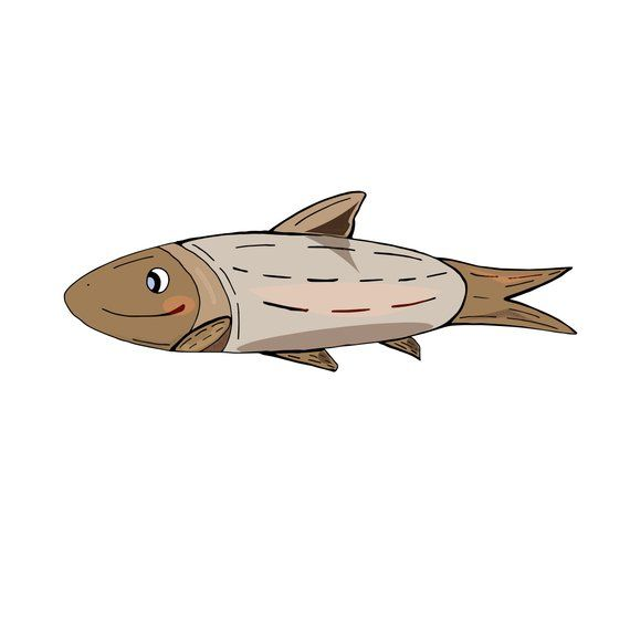 Fish Funny Cartoon Marine Cute Illustration Vector Print In