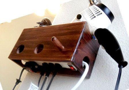 Dark Wood Bathroom Organizer - Curling Iron, Hair Dryer and Straightener Holder with Plug on Etsy, $35.00