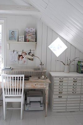 Clean white studio space under the eaves