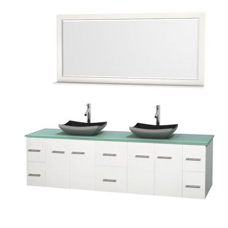 Wyndham Collection Centra 80 Inch Double Bathroom Vanity In Matte White,  Green Glass Countertop,