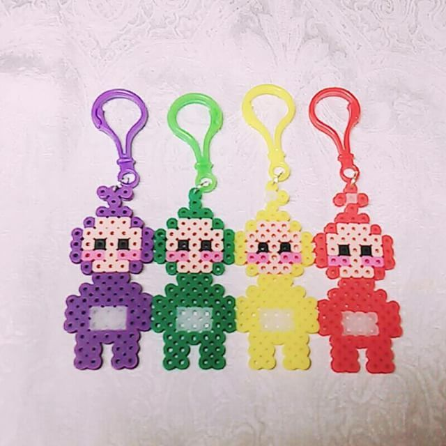 Teletubbies perler beads key chains look cool! Tinky Winky, Dipsy, Laa-Laa, Po! Crafts! DIY! Kids! Parenting!