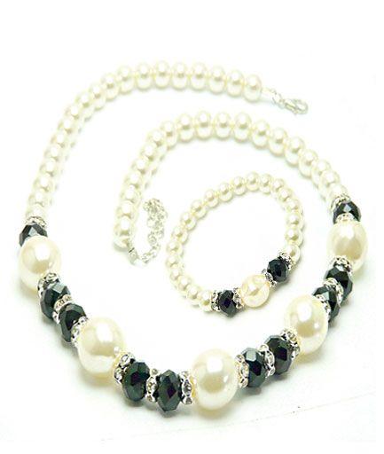Set bijuterii din perle si cristale COD SP1P9