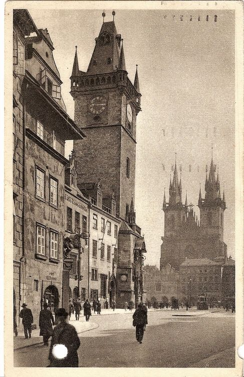 Prague, Old Market Square, old postcard with hole, 1916