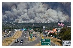 TxDOT Research: Implementation of Best Practices for TxDOT on Handling Wildland Fires. ~(photo of Bastrop Fire, more at http://www.txdot.gov/government/programs/research-technology/featured-projects.html)