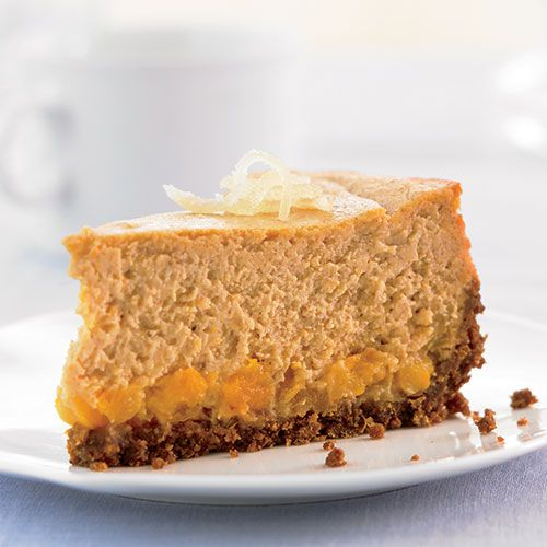 Ginger Sweet Potato Cheesecake by womenshealthmag: Silken, spicy and healthy, 164 calories/serving. #Cheesecake #Healthy #Sweet_Potato