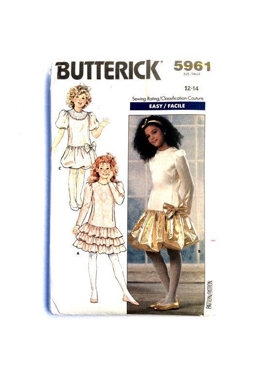 Butterick 5961 Girls' Dress Pattern, Party Dress, Special Occasion Dress, Flower Girl Dress by DonnaDesigned