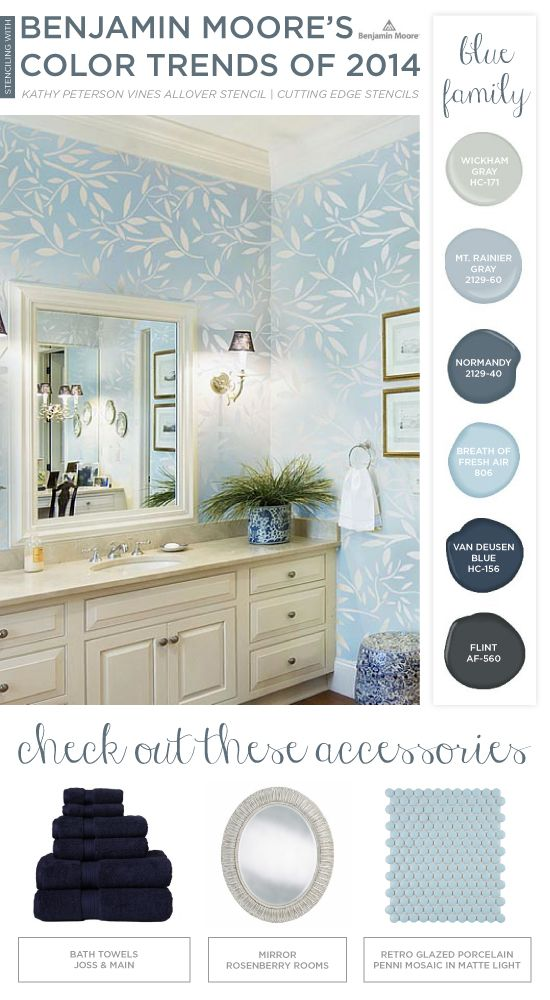 Bathroom Color Trends 2014 72 best stenciled bathrooms images on pinterest | wall stenciling