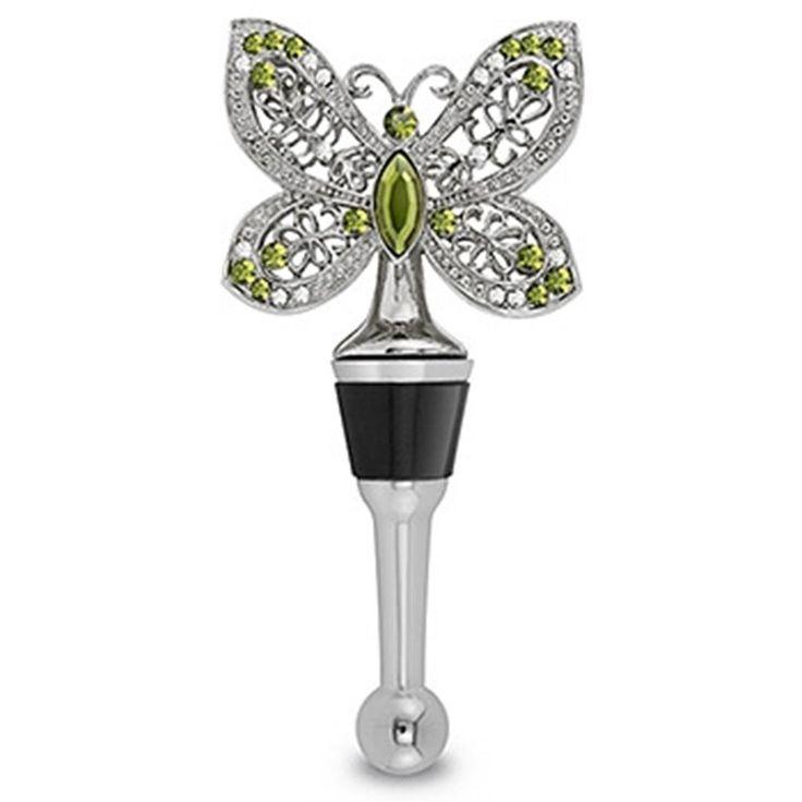 Bottle Stopper Favor - Jeweled Butterfly Wine Bottle Stopper, $19.50 (http://www.bottlestopperfavor.com/jeweled-butterfly-wine-bottle-stopper/)