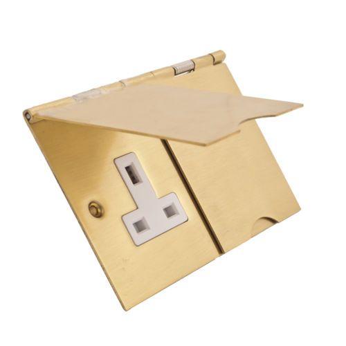 Study, Livingroom, Bedroom Philex Twin Floor Plug Socket - Satin Brass - 13 Amp