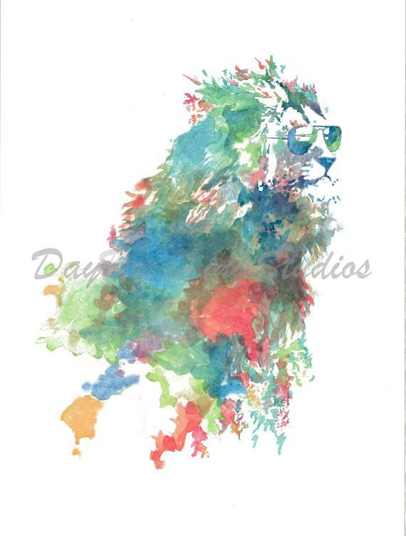 9b642337284 Lion with Sunglasses Watercolor Art Print - Watercolor Painting ...