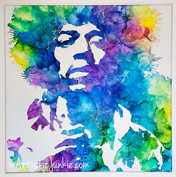 Jimi Hendrix Crayon Art DIY with directions for how to use any image.