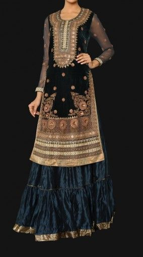 http://www.RituKumar.com/bridal/lehenga BridalWear  DUSK: A full sleeves round neck long kurta with beautiful embroidery all over and a crinkled skirt. Rs 69,990