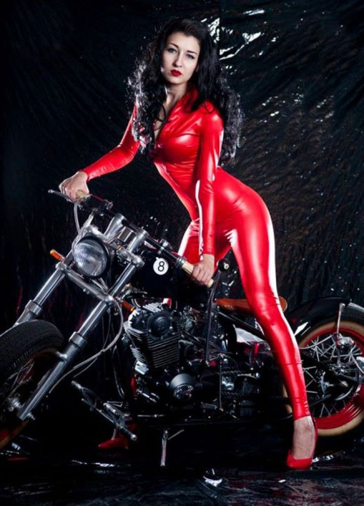 Sexy Red Racer Zipper Faux Leather Bodysuit Jumpsuit 4a078fdfe