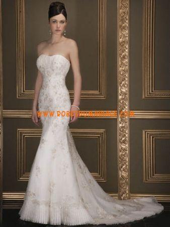 Demetrios robe de mariée 2012 sans bretelle longue ornée de cristal et broderie organza