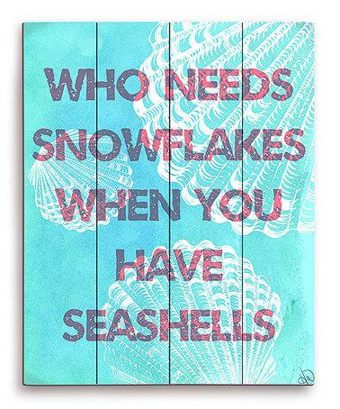 Look at this #zulilyfind! Aqua Seashells Over Snowflakes Wall Art #zulilyfinds