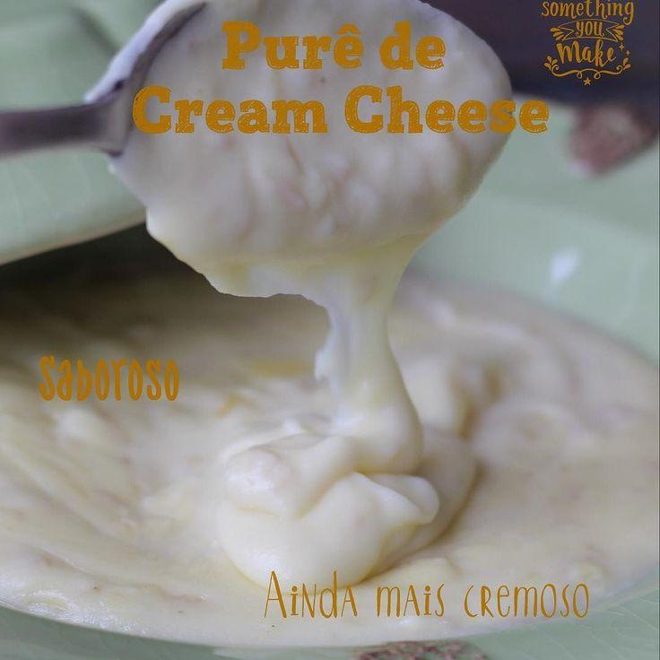 Purê de Cream Cheese 100% de aproveitamento do alimento! Purê de Cream Cheese é um purê aveludado, bem cremoso e para lá de saboroso. As batatas são cozidas no leite e temperadas com alho e uma folha de louro. Depois processadas e re temperadas com manteiga, noz moscada sal e pimenta do reino. O cream cheese entra para dar sabor e intensificar a cremosidade. Delicioso, vale a pena salvar a receita e experimentar. Comida caseira, de verdade com arroz branco e bife de calabresa fresca…
