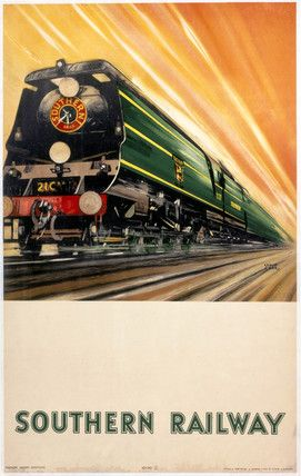 'Bulleid Pacific Locomotive', SR poster, 1946., Stock poster produced for the Southern Railway (SR) showing the Bulleid Pacific locomotive travelling at speed along the tracks. Artwork by Leslie Carr, who painted marine subjects and architectural and river scenes. He designed posters for SR, London & North Eastern Railway (LNER) and British Railways (BR).jul16