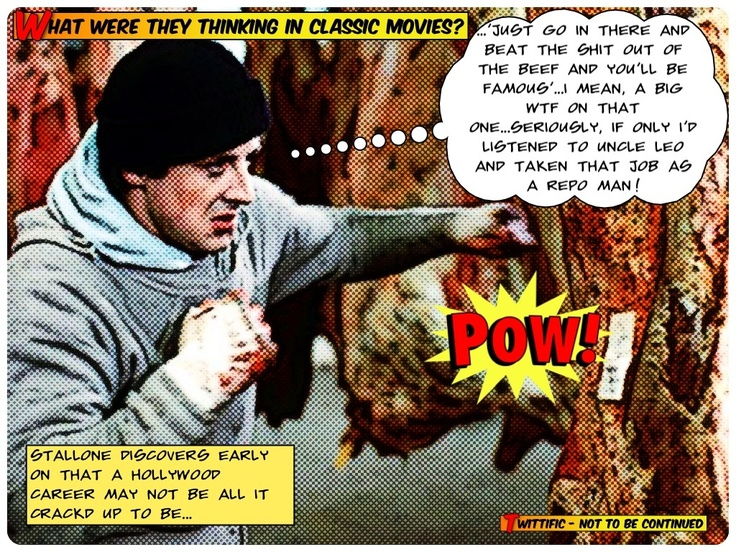 What was Stallone thinking when he was beating meat in Rocky 1?