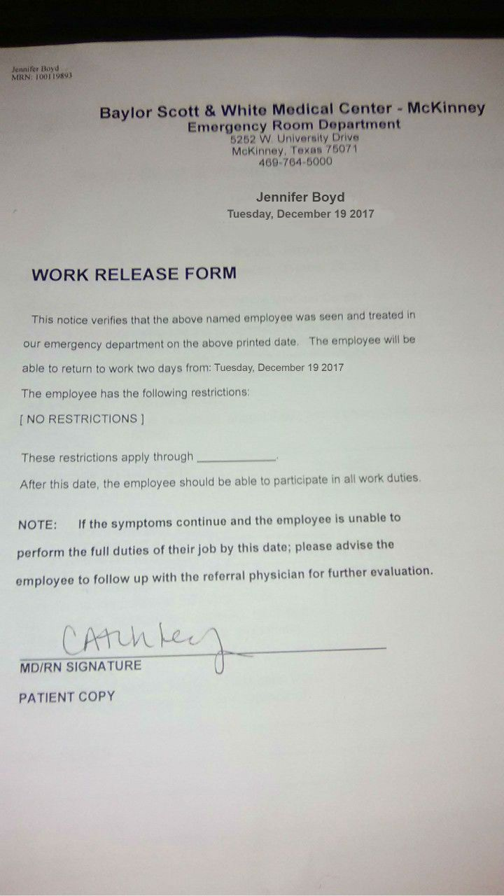 doctors note form