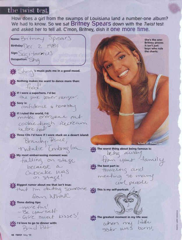 Quotes transcribed from an interview in the May 1999 issue of Twist magazine. | The 5 Best Things We Learned About Britney Spears From Her 1999 Twist Magazine Questionnaire