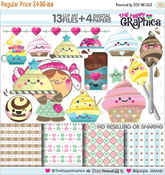 80%OFF - BIG SALE Sweet Clipart, Sweet Graphics, Commercial Use, Kawaii Clipart, Planner Accessories, Sweet Party, Bakery, Food, Cake, Desse