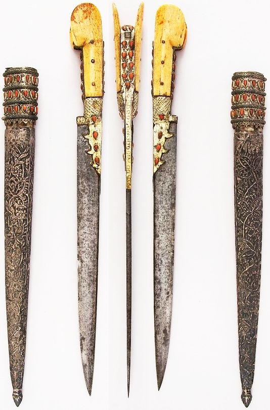 Ottoman bichaq dagger, 19th century, steel, silver, ivory, coral, wood, L. with sheath 21 7/16 in. (54.5 cm); L. without sheath 19 7/16 in. (49.4 cm); W. 1 1/2 in. (3.8 cm); Wt. 12.7 oz. (360 g); Wt. of sheath 7.5 oz. (212.6 g), Met Museum,  Bequest of George C. Stone, 1935.