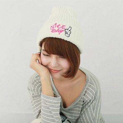 Hippie White Letter Niceday Embroidered Simple Design Cashmere Knitting Wool Hats  http://www.asujewelry.com