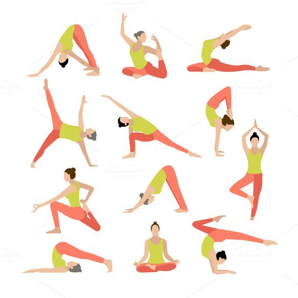 Vector yoga illustration. Yoga set. by OS on @creativework247