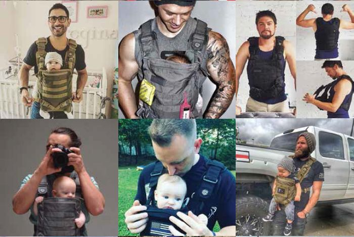 Some find it plays up stereotypes. Many, though, are just glad there finally is a baby carrier that fits men.