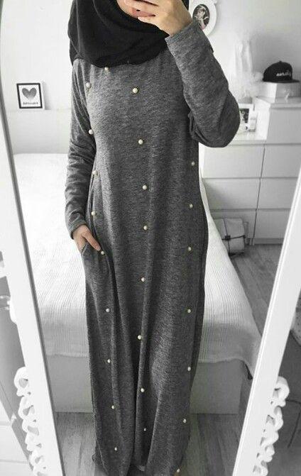 robe longue grise avec perle hijab style