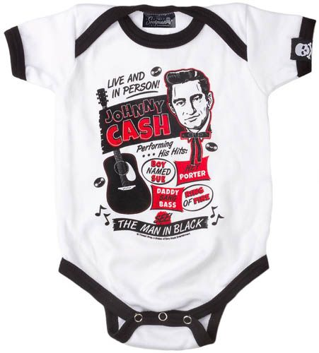 NEW - Johnny Cash Flyer one piece snap bottom baby shirt (S=0-3 mo, M=3-6 mo, L=6-12 mo, XL=12-18 mo) #ayp #punkbaby #johnnycash