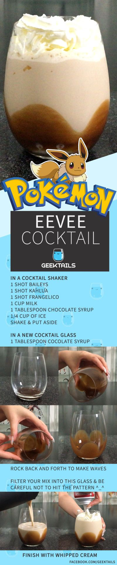 Eevee cocktail from Pokemon! found on www.geektails.com/ #cocktail #gaming cocktail #pokemon cocktail #pokemon #eevee #eeveelution #eeveelution cocktails
