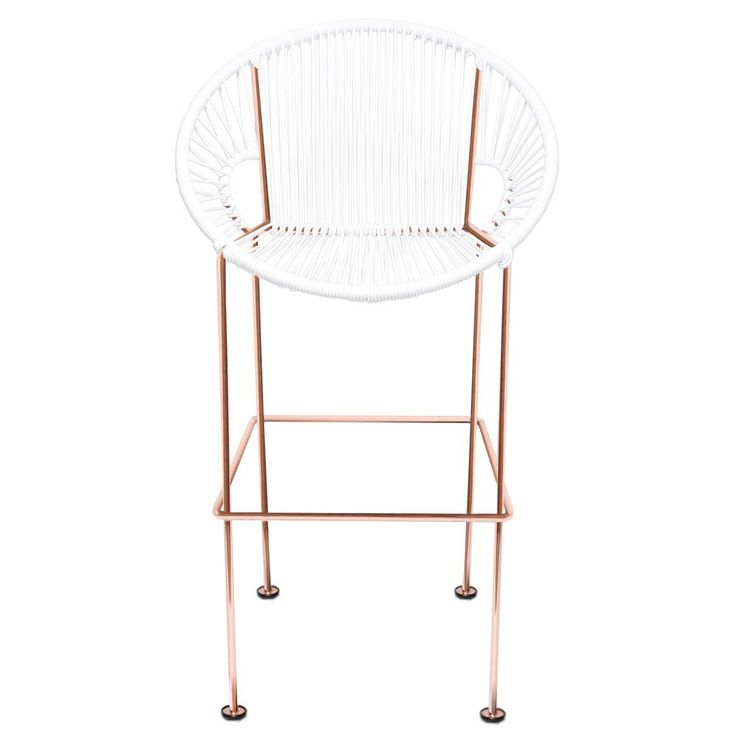 Modern Puerto Bar Stool with Cord Seat and Copper Frame | Zuri Furniture