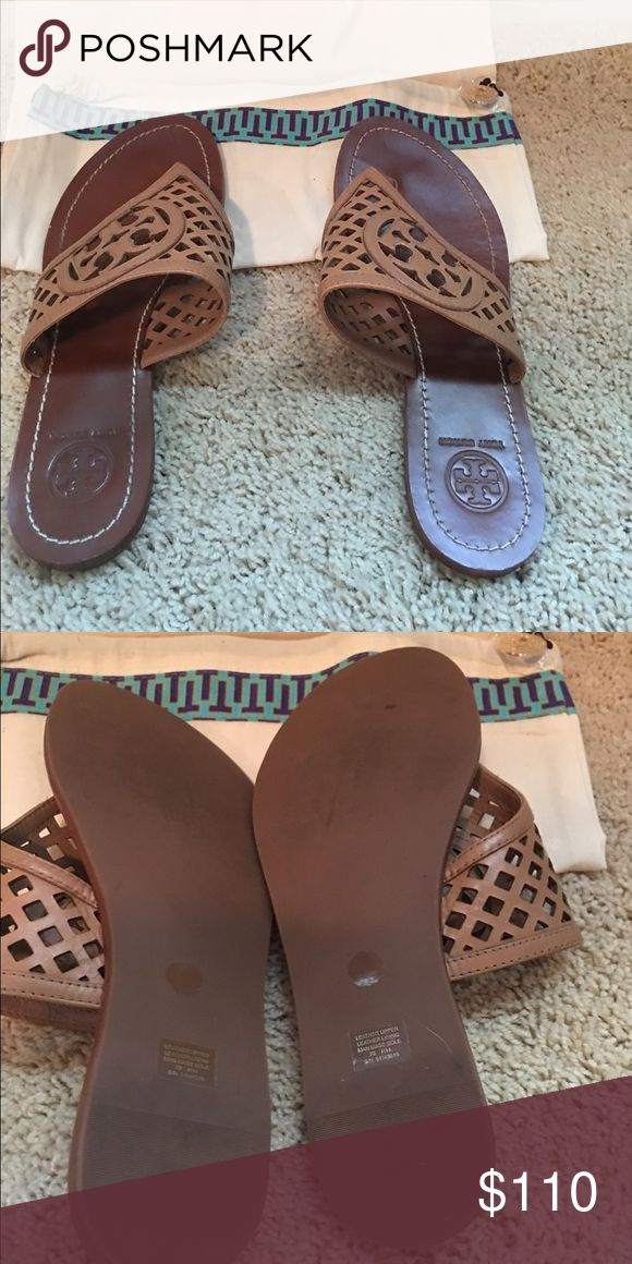 Tory Burch camel/ tan sandals. Authentic Tory burch size 6 sandal. Worn maybe twice. Good condition. Will come with original dust bag. Clearing out the closet. Tory Burch Shoes Sandals