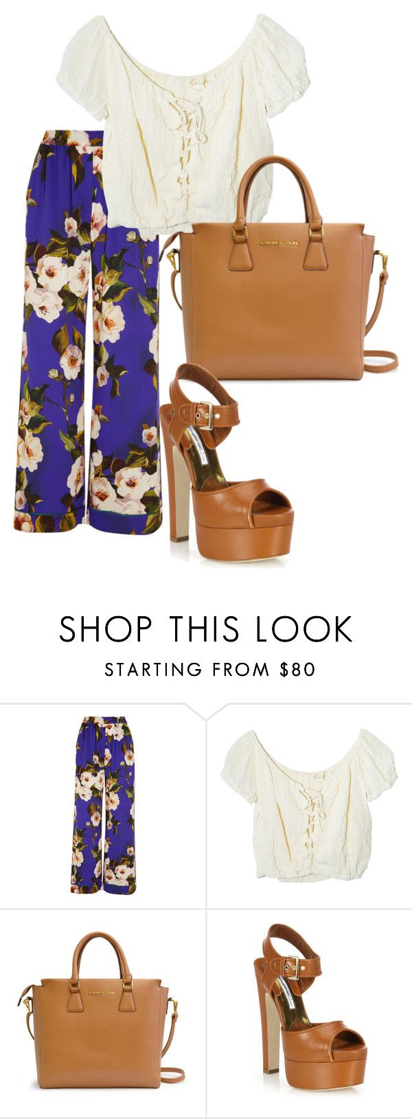 """""""What to wear tomorrow"""" by shanleigh543 on Polyvore featuring Dolce&Gabbana, Jens Pirate Booty, Adrienne Vittadini, Brian Atwood, outfit, floralprint and widelegpants"""