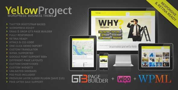 Download and review of YellowProject Multipurpose Retina WP Theme, one of the best Themeforest Corporative themes