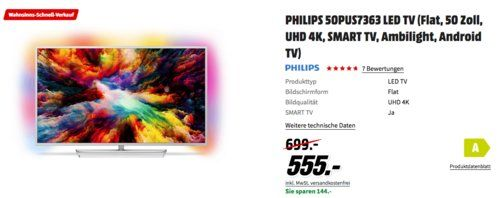 Philips 50pus7363 50 Zoll Ambilight Led Tv Zoll Und Led