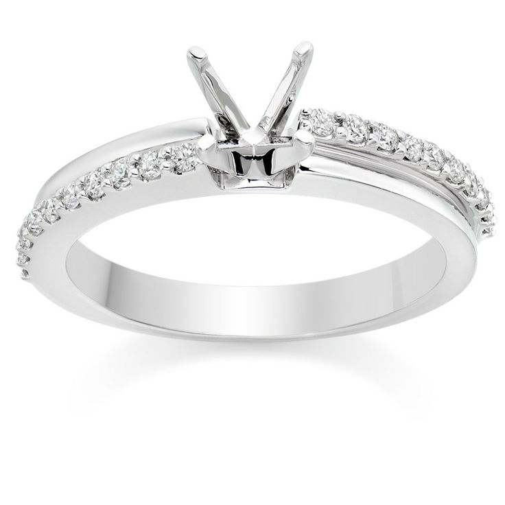 White Gold Ring Pear Settings Dual Band Side Stone Engagement Setting In 18k