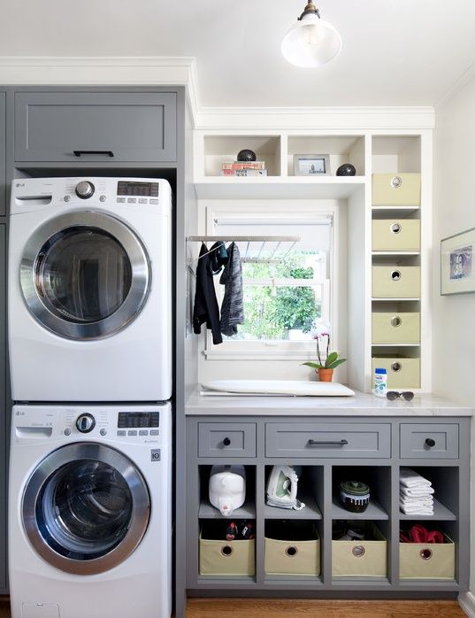 Sherwin Williams - Gray Shingle SW 7670- Transitional Laundry Room with LG Electronics 2.3 cu. ft. High-Efficiency Front Load Washer, Built-in bookshelf