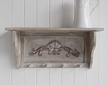 Regency grey coat hook and shelf. Simple hallway furniture