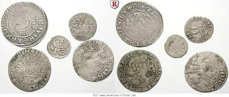 RITTER Böhmen, 5 Münzen 1420-1572, Hussiten, Wladislaw II., Prager Groschen #coins
