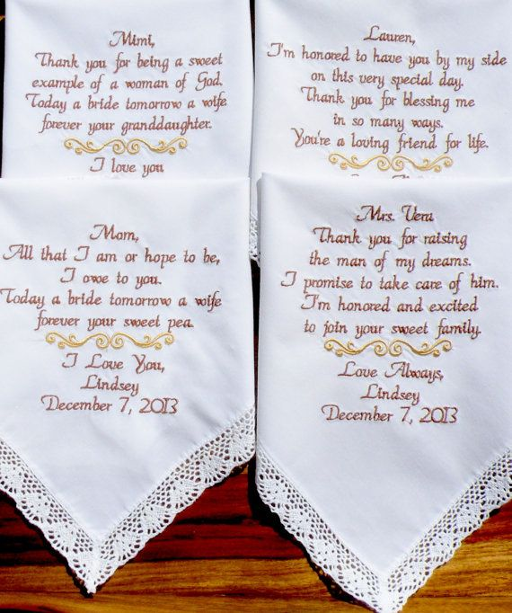 Wedding Gifts For Parents Handkerchief : Wedding Handkerchief on Pinterest Wedding gifts for parents, Wedding ...