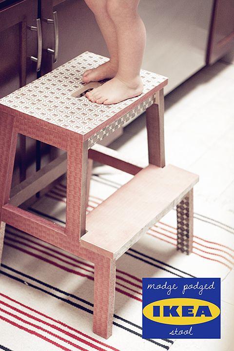 modge podged ikea stool. I am soooo doing this!!!!!