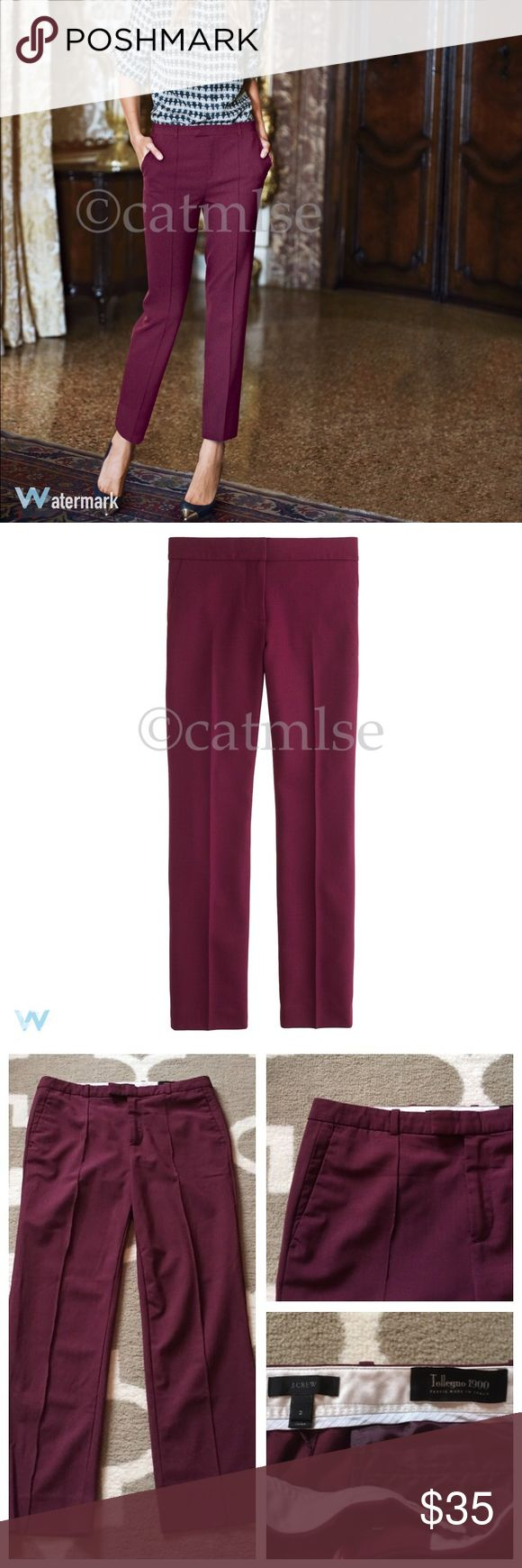 """JCrew Tollegno Wool Eaton Boy Trousers Pants J Crew Tollegno Italian Wool Eaton Boy Trousers Pants in Burgundy. Wool is a lightweight all-season type, not itchy. Perfect condition, no flaws.   • Waist 15"""" • Hips 18"""" • Inseam 26"""" • Rise 9.5""""  Taking inspiration from classic men's suiting trousers, we gave this pant a feminine, slightly shrunken silhouette with a crisp, straight leg and finished it with pintucks and a cropped hem. Made from a stretchy wool found at one of Italy's oldest mills…"""