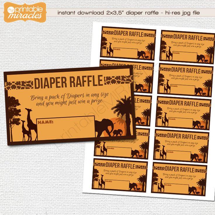 MyPrintableMiracles: Safari diaper raffle ticket Printable African baby shower diaper raffle African diaper raffle insert card - Instant download (4.00 USD)